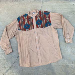 Vintage 80s Southwest Western Cotton Button Down